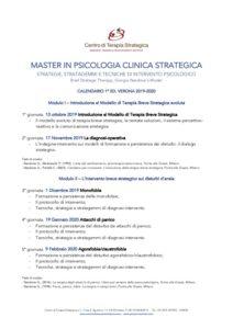 Calendario Master In Psicologia Clinica Strategica Verona 2019