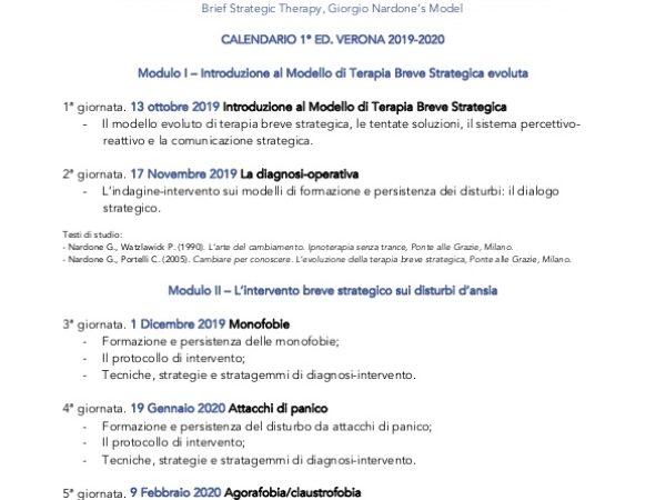 Pubblicazione Calendario Master in Psicologia Clinica Strategica