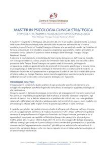 Programma Didattico Master In Psicologia Clinica Strategica